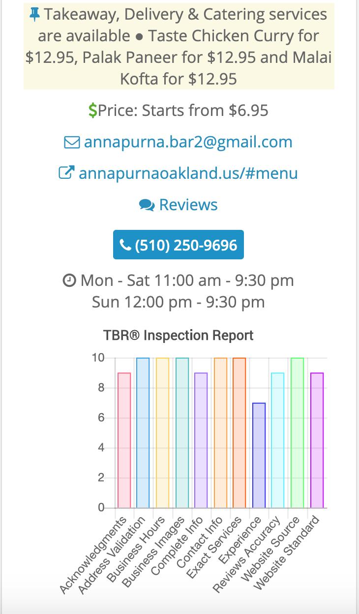 Annapurna Restaurant & Bar 948 Clay St, Oakland