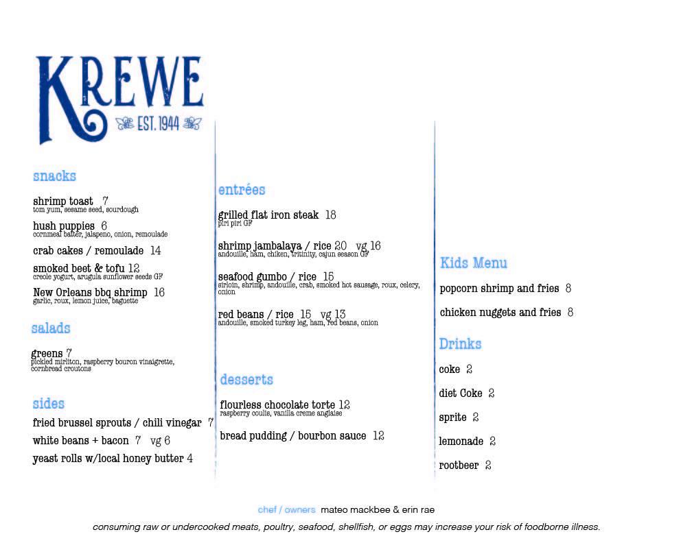 Krewe Restaurant 24 College Ave N, St Joseph
