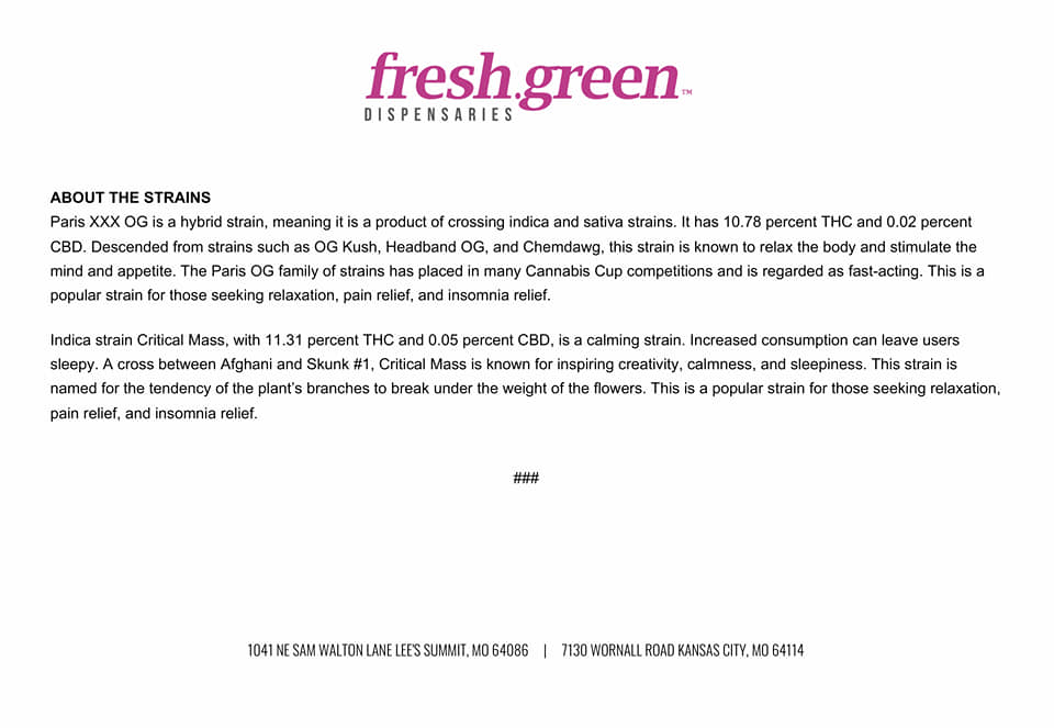 Fresh.Green Dispensary 1041 NE Sam Walton Ln, Lee's Summit