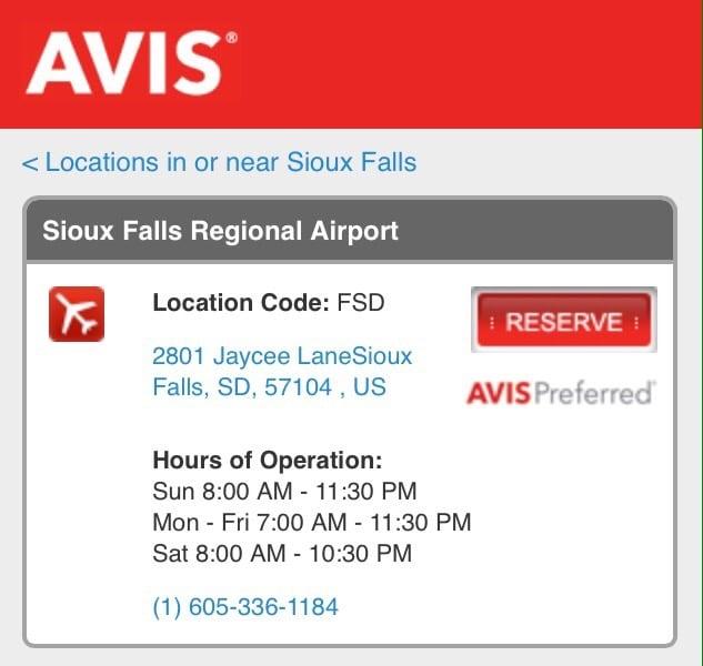 Avis Rent A Car 2801 N Jaycee Ln, Sioux Falls