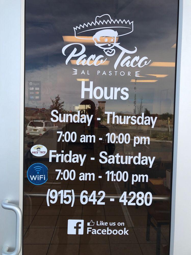Paco Taco al Pastor 900 Talbot Ave #G, El Paso
